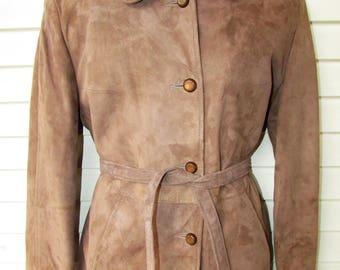 Vintage Suede Leather Jacket 1970s Womans Tan SOFT Belt Boho Hippie LINED M