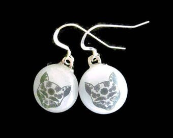 Fox Earrings, Fused Glass Jewelry, Sugar Skull Earrings, Fused Glass Earrings, Fox Jewelry, Animal Lover Gift, Fox Gift, Day of the Dead