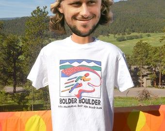 vintage 90s t-shirt BOLDER BOULDER road race colorado mountain trail tee Large Medium