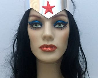 Tiara and Cuff Set based on Wonder Woman in Justice League War movie Silver with Red Star