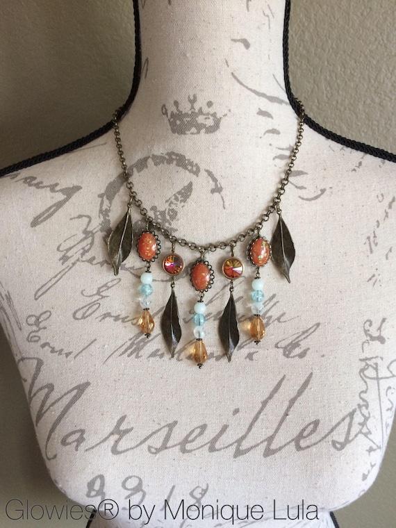 Autumn Fire Statement Necklace Rivoli Crystals Orange Glow Opals Bronze Leaves Galaxy Glow in the Dark Bib Necklace