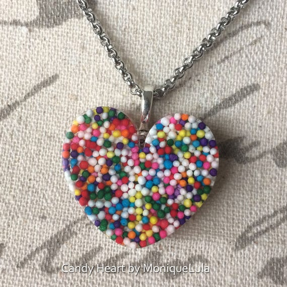 "Real Candy Rainbow Sprinkle Heart 1.25"" Handmade Necklace"