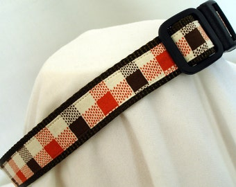 Fall Plaid Dog Collar - Medium to Large Dog Collar - 1 Inch Wide - Adjustable Between 14-23 Inches - Orange & Brown Plaid - READY TO SHIP