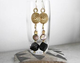Sacred Geometry Earrings Brass Pearls Lava Rock Metaphysical Healing Stones Wearable Art