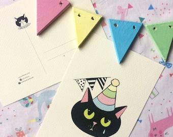 Cartolina Sad Kittens Party - stampa alta qualità su carta avorio da 200 gr - gatto triste nero - illustrazione - festa compleanno