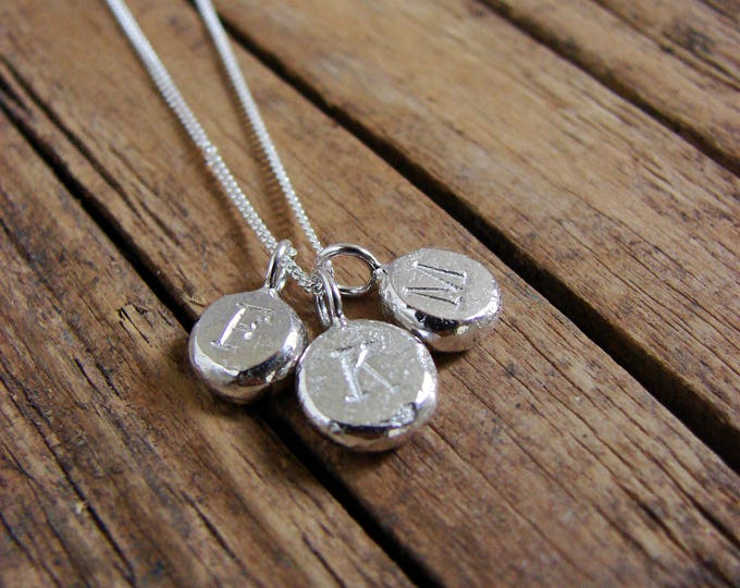 Silver Charm Initial Necklace Pebble Rustic Jewelry Personalized Jewerly Gifts for Mom