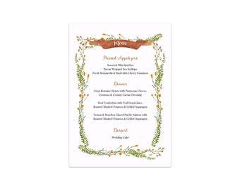 PRINTABLE Wedding Menu, Rustic Floral Dinner Menu, Wedding Menu, Printable Dinner Menu, Rehearsal Menu, Wedding Dinner, Reception Menu,