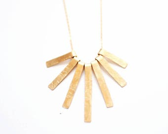 Hammered Tribal Fringe Necklace - Brass | 14k Gold Fill | Sterling Silver