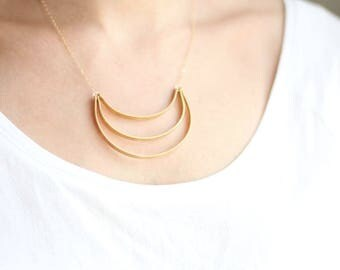 Triple Layered Arc Crescent Necklace | Brass Necklace | 14k Gold Fill Necklace | Sterling Silver Necklace | Minimal Jewelry