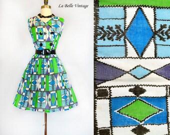 Graphic Print Sundress S M Vintage Mid Century Cotton Dress ~ Patent Belt