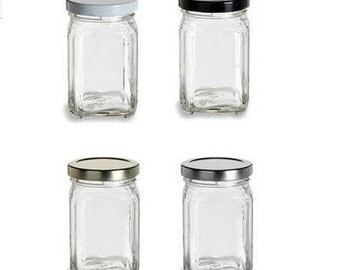 6 oz (190 ml) Square Glass Jar with your color Choice of Plastisol Lined BPA Free Lid: Gold, Silver, White, Black