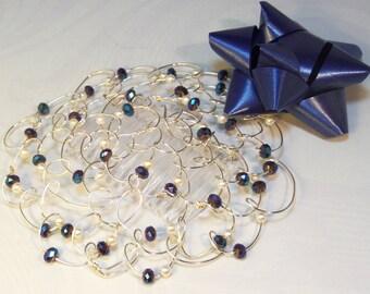Wire Beaded Kippah - Bat Mitzvah - Womens Kippot - Hanukkah Gift - Blue Metal