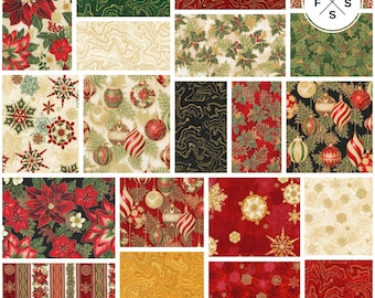 "Pre-Order Peggy Toole Holiday Flourish Holiday Precut 5"" Charm Pack Metallic Fabric Quilting Cotton Squares Robert Kaufman CHS-682-42"