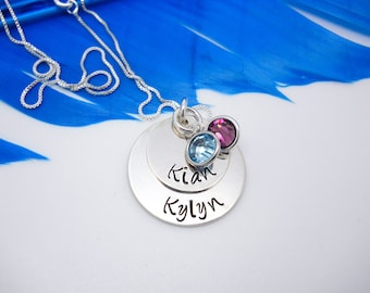Engraved Mothers Necklace, Personalized Necklace, Sterling Silver Layered necklace with kids names, Mothers Day gift mom