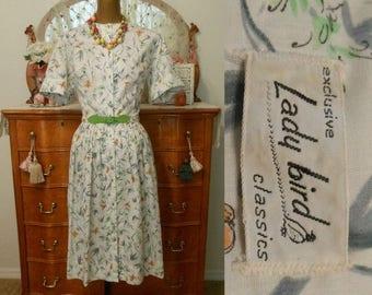 ON SALE Vintage 50s Dress, 1950s Botanical Butterfly Print Full Skirted Skirt Shirtdress Shirtwaist Shirt Dress with Original Belt, Size M t