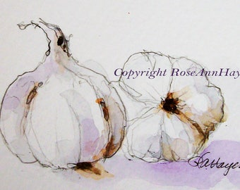Original Watercolor Painting Garlic Vegetable Garden Veggie Still Life ACEO Kitchen Art