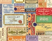 Vintage Chocolat Wrapper Collage Wrapping Paper by Cavallini to Frame or Gift Wrap, Book Binding, Decoupage, Collage, Paper Arts PSS3457