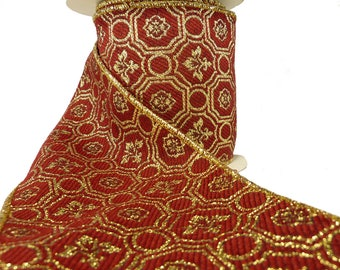 """Red & Gold Fleur De Lis Gothic Tapestry Wired Ribbon  4"""" Wide"""