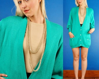 GUCCI Vintage 70s Oversized TEAL Rayon/Cotton CARDIGAN Jacket/Sweater xs/s/m/l Italy 44