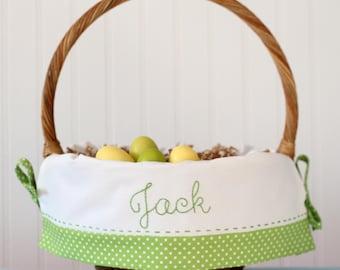 PRE-ORDER 2019 Personalized Easter Basket, Hand Embroidered Name, fits Pottery Barn Kids Baskets, Monogrammed Boy Easter Basket Liner Lime