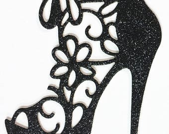 High Heel Shoe Glitter Die Cut Black Glitter Card Stock - Glamorous Feminine Embellishment Scrapbook Card Party Invitation Art Craft Collage