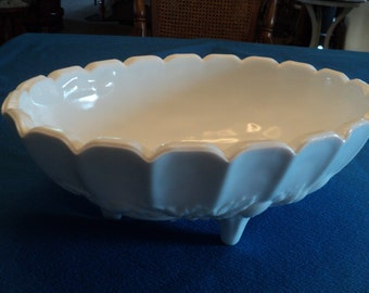 Vintage Large Indiana Glass White Bowl--Vegetable--Fruit-Centerpiece