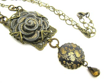 Ancient Romance Series - Renaissance Faire Gunpowder and Gold Tapestry Necklace w/Embossed Rose & Whiskey Czech Glass Teardrop Crystal