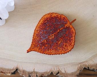 Aspen Leaf Brooch Copper, Hat Pin, Aspen Leaf Pin, Real Leaf, Hair PIn, Copper Leaf, Orangic Pin, Nature, BROOCH55