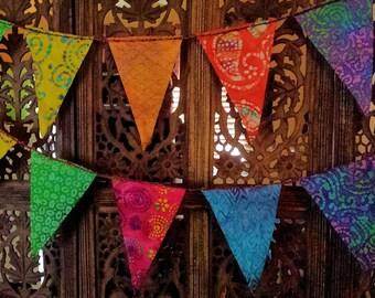Gypsy Rainbow All Batik Flag Garland 12 Feet  (3.66 m)