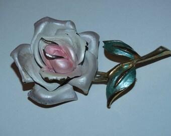Vintage Rose Brooch, Pin, Wedding Rose, Pink Rose, Victorian Rose, Antique Rose, Pastel Rose, Park Lane Brooch