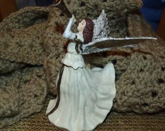 Vintage Christmas Angel Decoration, Tree Ornament, Angel Ornament, Trumpet Playing Angel, Angel Decoration