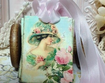 Set of 6  Handmade Victorian Girl With Roses Gift Tags, Vintage Hat, Vintage Bonnet, Pink Roses , Vintage Gift Tags... Victorian Lady Tags