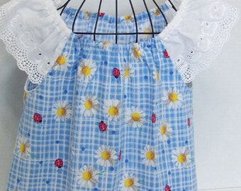 Girls  Tunic Top or Dress Blue  Daisies Ladybugs Eyelet Sleeves Infant  Toddler Girls Daisy  Dress Size 6 mths 12 mths, 18 mths, 2, 3, 4