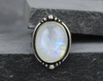 Rainbow Moonstone Ring, Boho Ring, Silver Statement Ring, Big Ring, Size 8, Ready to Ship