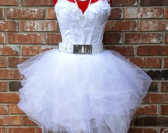 80's Prom Dress~Includes Accessories~ 80s Style Clothing~ Madonna Like a Virgin Costume Outfit~ Size 00 2 4 6 8 10 12 14 16 18 20 22 Plus