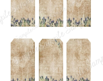 Instant Download Hang Tags  - Lavender Tags  -  Printable Digital Collage Sheet - Download