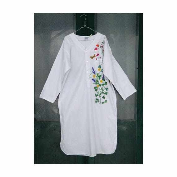 Vintage Cotton Nightshirt Embellished with Handpainted Flowers -M-