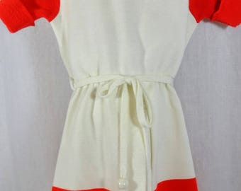 Vintage Girl's Dress Size 4 - Knit Sailor Style Dress - Red and White With a Blue Anchor by Little World