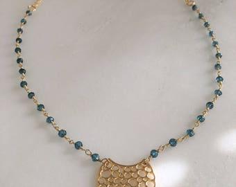Crescent Charm and Blue Quartz Necklace