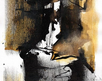 Abstract painting A4, 12x8in -  black and yellow paint 1