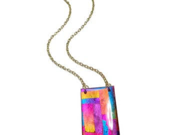 Colorblock Pendant Statement Necklace polymer clay Pendant Rainbow Dichroic Necklace Gifts for Her Birthday