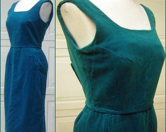 Vintage 60s Party Dress Turquoise Velvet / Velveteen - Great Color & Sexy Shape Small