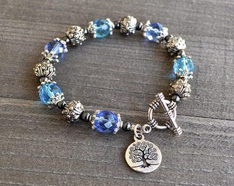 Silver Tree of Life Bracelet Blue Faceted Crystal Toggle Clasp Bracelet December Birthstone Color Frozen Winter Season Style