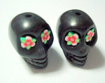 Red Flower Eyes in Black Day of The Dead Skull Beads