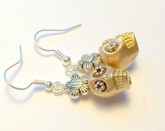 Sugar Skull Earrings Metallic Silver and Gold Day of the Dead Daisies and Skull Earrings