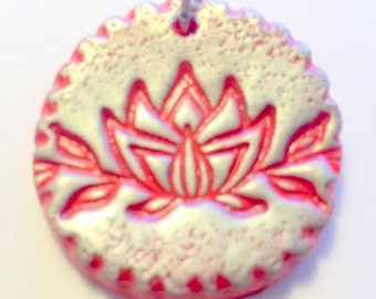Red and Silver Lotus Blossom Pendant Handmade Polymer Clay Pendant
