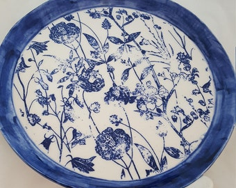 Distressed Blue Floral Serving Dish/ Pie Plate/ Serving Tray/ Cheese and Cracker Dish/