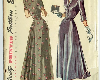 Vintage Sewing Pattern Ladies' Late 1940s Dress Simplicity 2722 32 Bust - Free Pattern Grading E-book Included