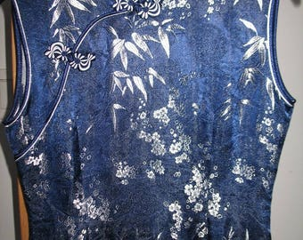Beautiful Vintage Dark Blue and Silver Cheongsam Chinese Dress Size Small