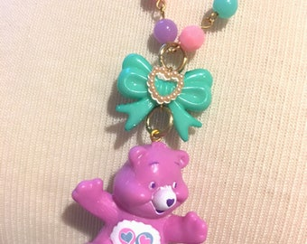 Vintage Care Bears Purple Bear And Bow Beaded Necklace